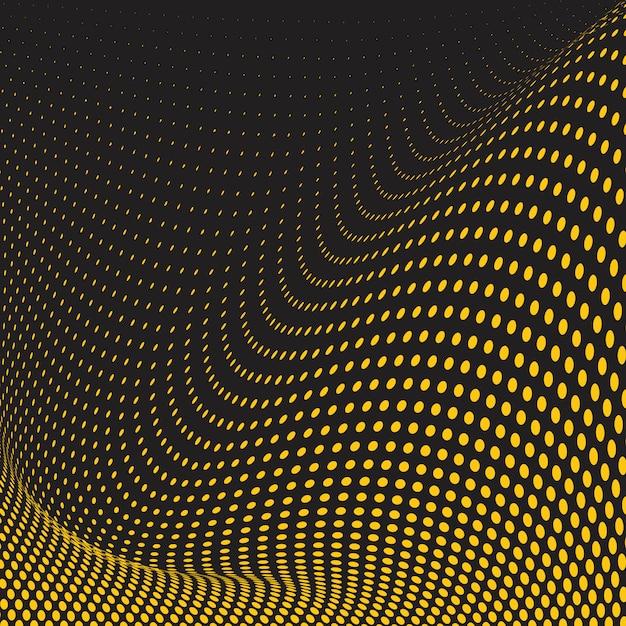黄色と黒の波状のハーフトーン背景ベクトル 無料ベクター
