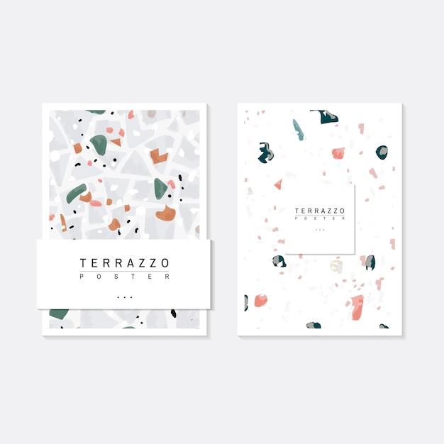 カラフルなテラッツォ模様のポスターのベクトルセット 無料ベクター