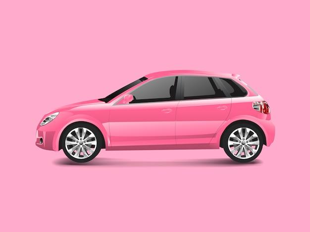 Розовый автомобиль хэтчбек в розовом фоне вектор Бесплатные векторы