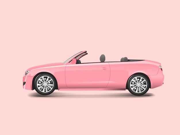 Розовый кабриолет в розовом фоне вектор Бесплатные векторы
