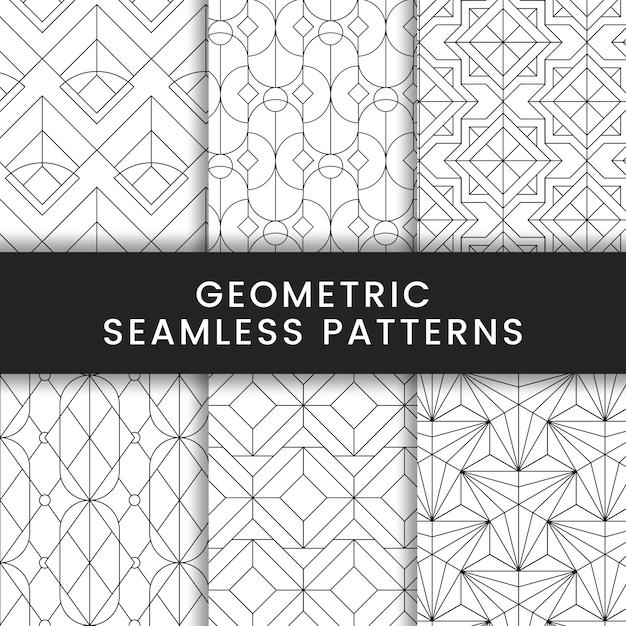 白い背景に設定された黒の幾何学的なシームレスパターン 無料ベクター