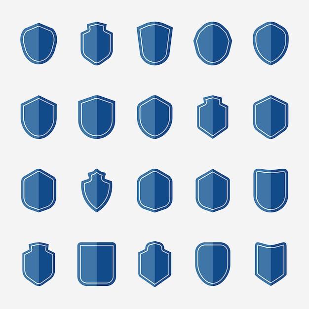 Набор векторных иконок синий щит Бесплатные векторы