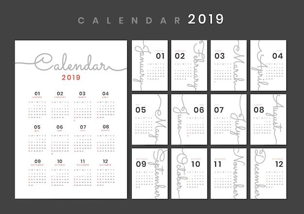 筆記体デザインカレンダーモックアップ 無料ベクター