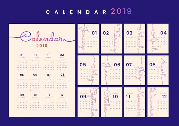 Курсивный дизайн календаря макет Бесплатные векторы