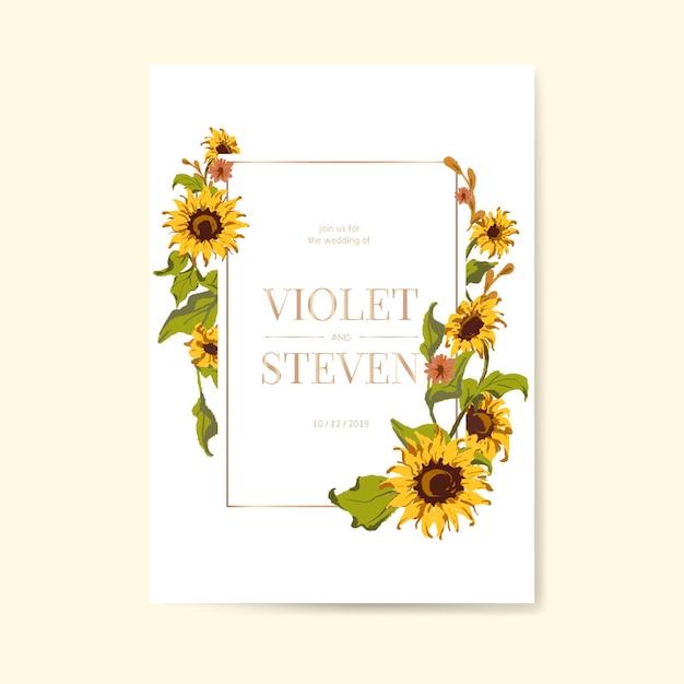 ひまわりの結婚式の招待カードテンプレート 無料ベクター