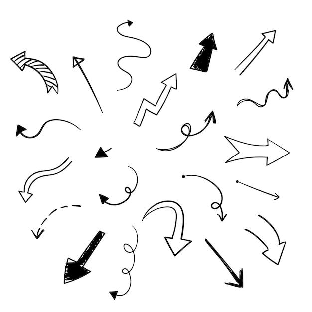 Нарисованная рукой коллекция иллюстрации стрелки Бесплатные векторы