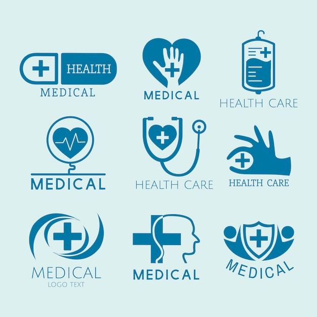 医療サービスのロゴベクトルを設定 無料ベクター