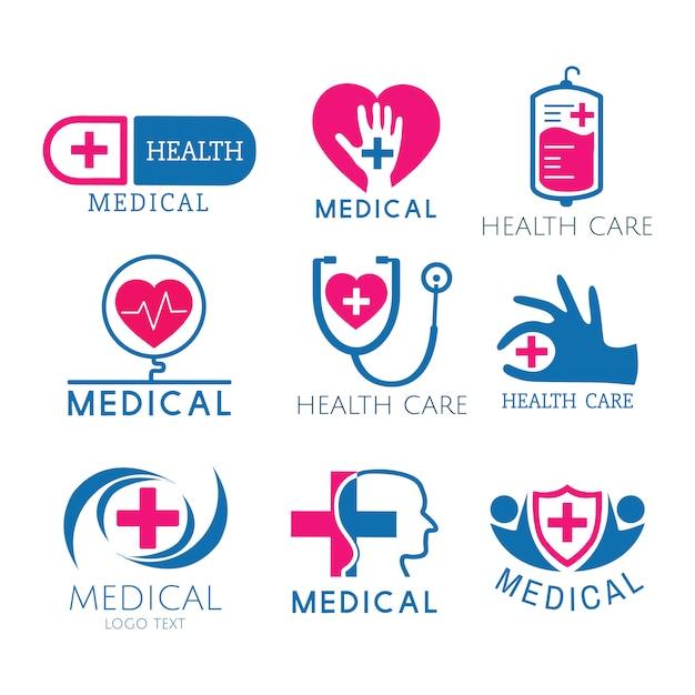Медицинский сервис логотипы векторный набор Бесплатные векторы