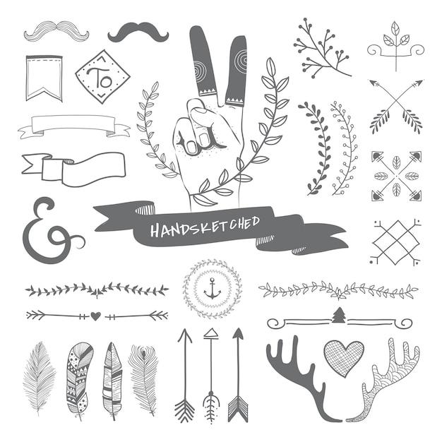 手描きの旅行デザイン 無料ベクター