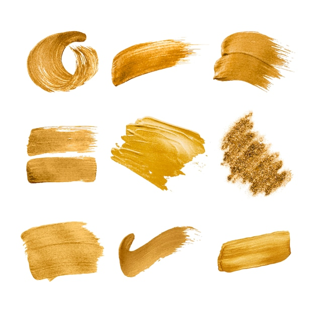 ゴールドブラシストロークコレクション 無料ベクター