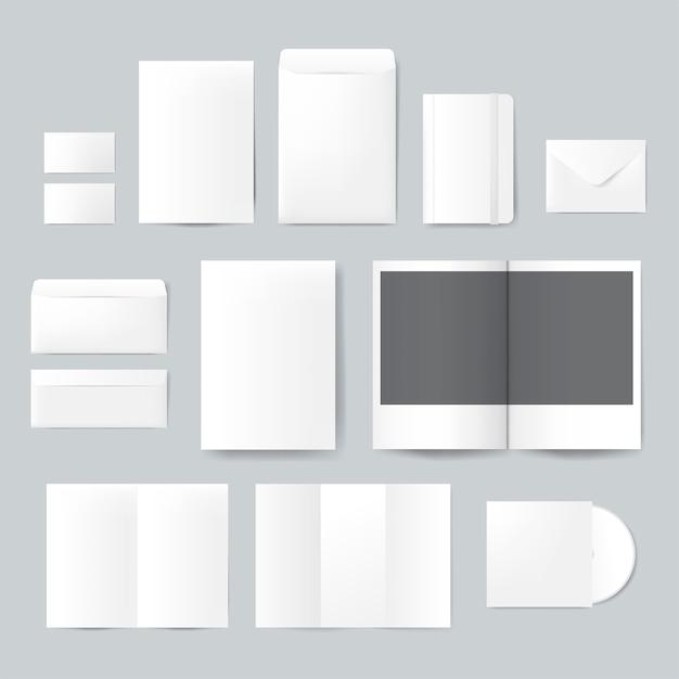 Набор печатных материалов конструкций макета вектора Бесплатные векторы