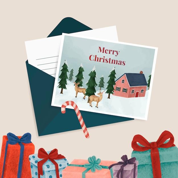 クリスマスポストカード&プレゼント 無料ベクター