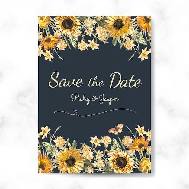 日付の結婚式の招待状のモックアップベクトルを保存します。 無料ベクター