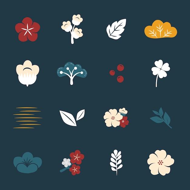色とりどりの花のセット 無料ベクター