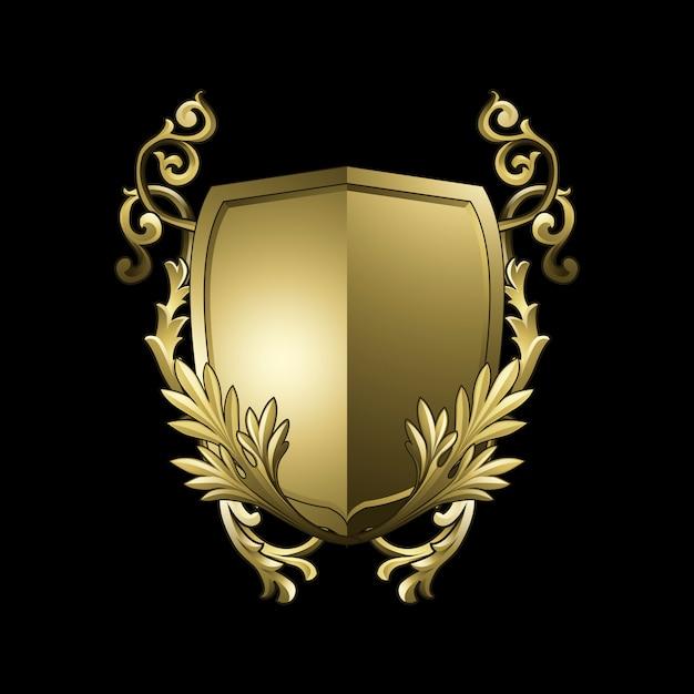 Золотой барочный щит элементы вектора Бесплатные векторы