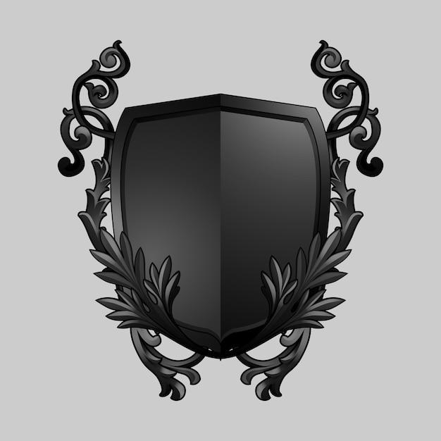 Черный барочный щит элементы вектора Бесплатные векторы