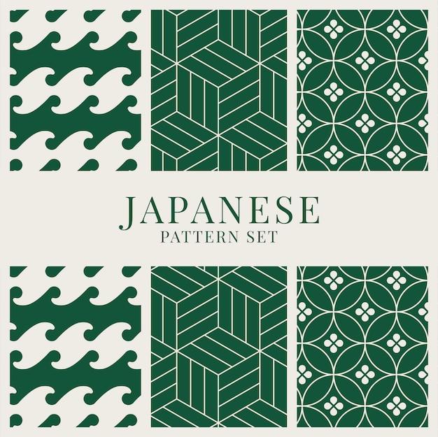 Вдохновленный японским орнаментом векторный набор Бесплатные векторы