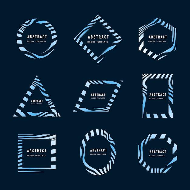 ブルー抽象的なバッジテンプレートベクトルのセット 無料ベクター