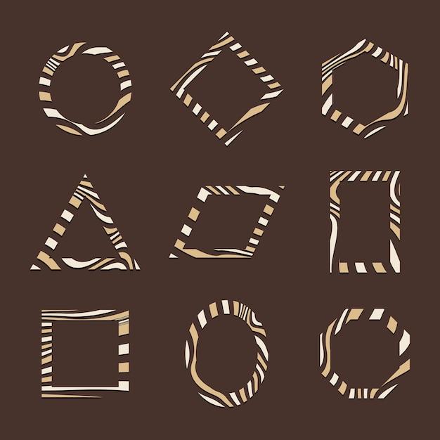 茶色の抽象的なバッジテンプレートベクトルのセット 無料ベクター