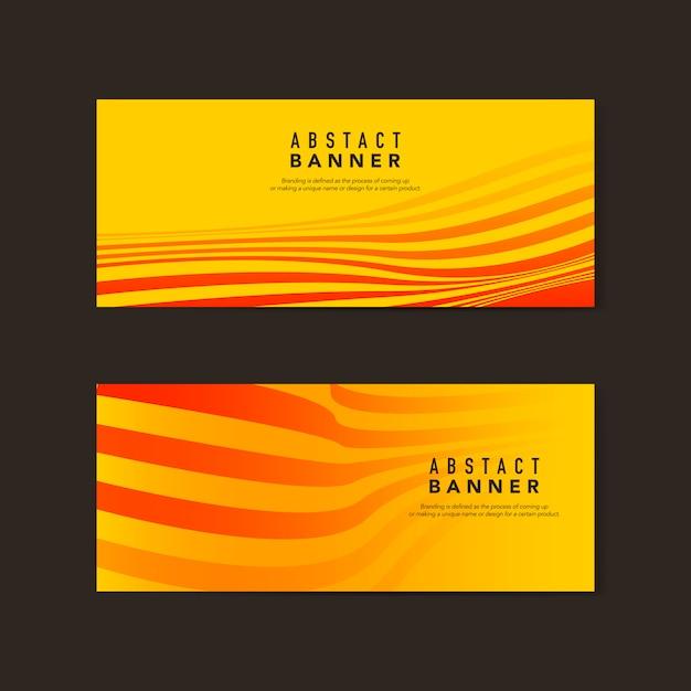 黄色とオレンジ色の抽象的なバナーのベクトル 無料ベクター