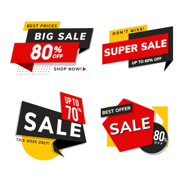 Магазин продажи продвижение рекламы векторный набор Бесплатные векторы