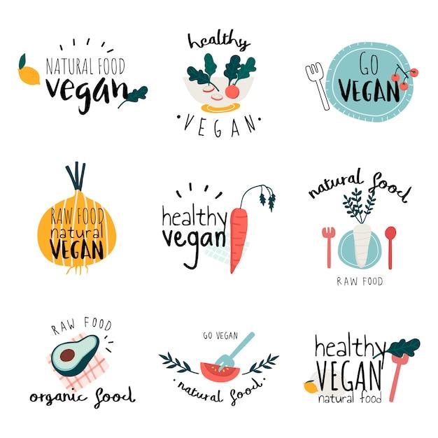 健康的なビーガンのロゴのベクトルのセット 無料ベクター
