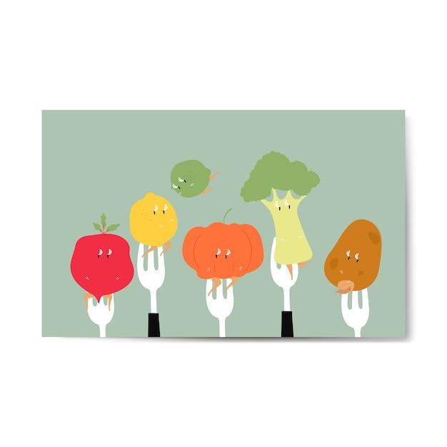 フォークの上の新鮮な有機野菜漫画 無料ベクター