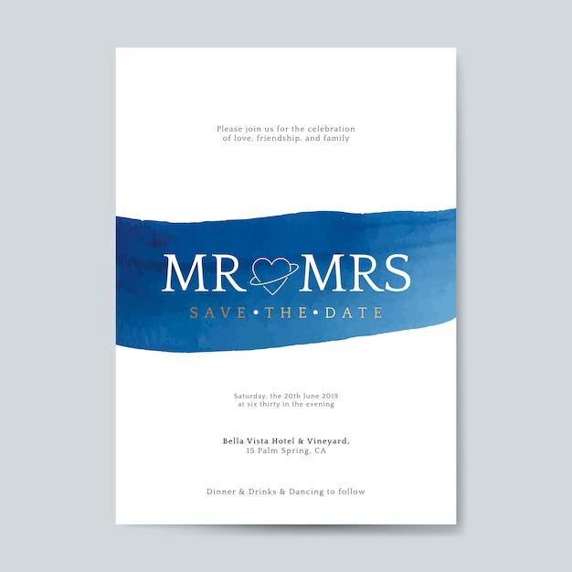青い結婚式の招待カードベクトル 無料ベクター