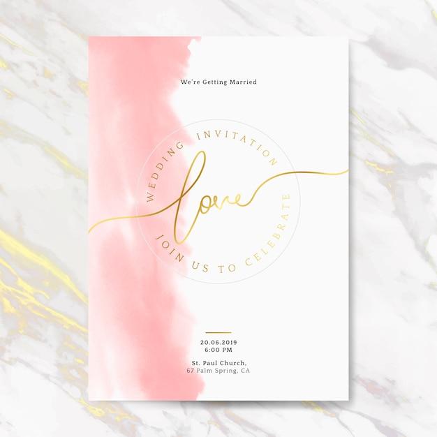 ピンクの結婚式の招待状カードベクトル 無料ベクター