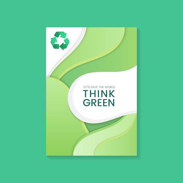 Подумайте зеленый плакат сохранения окружающей среды вектор Бесплатные векторы