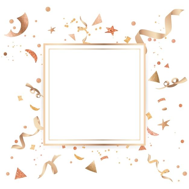 金の紙吹雪のお祝いデザイン 無料ベクター