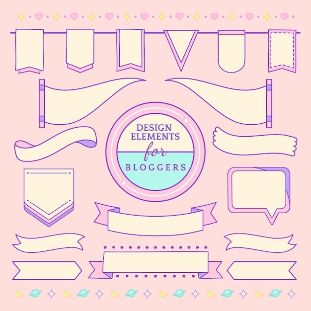 ブロガーのベクトルのかわいいと乙女チックなデザイン要素 無料ベクター