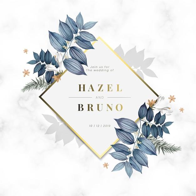 花の結婚式の招待カードデザインベクトル 無料ベクター