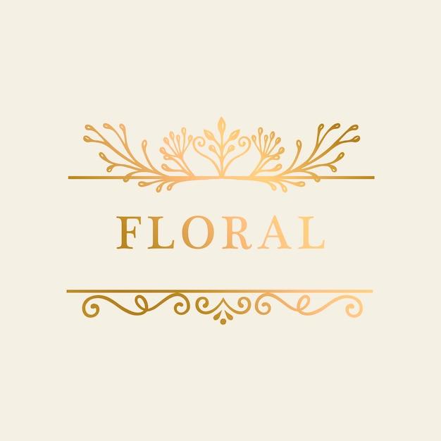 花のゴールドフレームの背景 無料ベクター