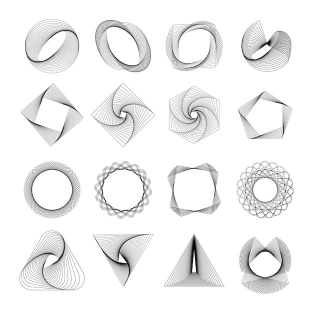 Набор абстрактных геометрических элементов вектора Бесплатные векторы