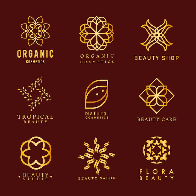 有機化粧品のロゴのベクトルのコレクション 無料ベクター