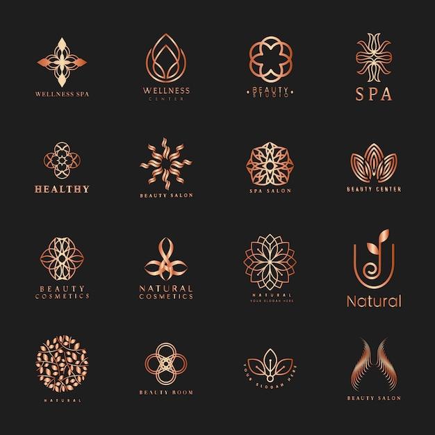 Набор спа и красоты логотип вектор Бесплатные векторы