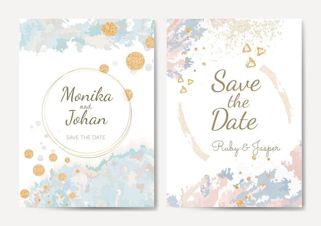 日付の結婚式の招待状のベクトルを保存します。 無料ベクター