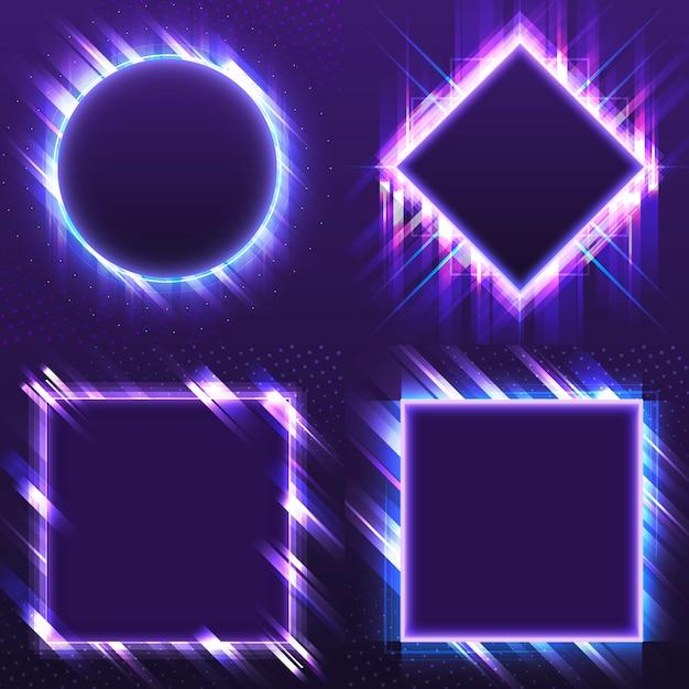 空白の紫色の看板ベクトルを設定 無料ベクター