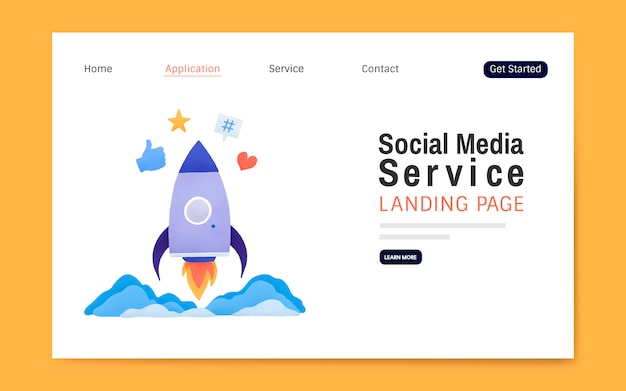 Вектор макета целевой страницы службы социальных медиа Бесплатные векторы