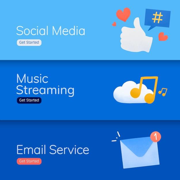 ソーシャルメディアアプリケーションのバナーベクトル 無料ベクター