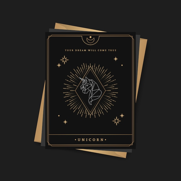 幾何学的なユニコーン占星術タロットカード 無料ベクター
