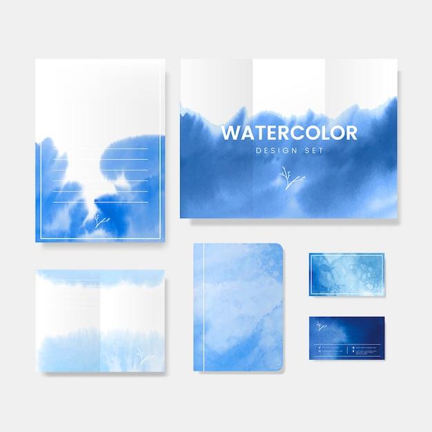 青い水彩風バナーベクトル 無料ベクター