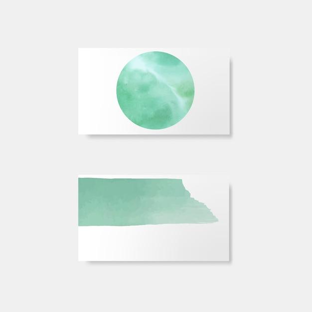 ターコイズブルーの水彩風カードベクトル 無料ベクター