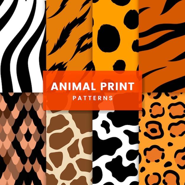 Набор бесшовных животных печати шаблонов векторов Бесплатные векторы