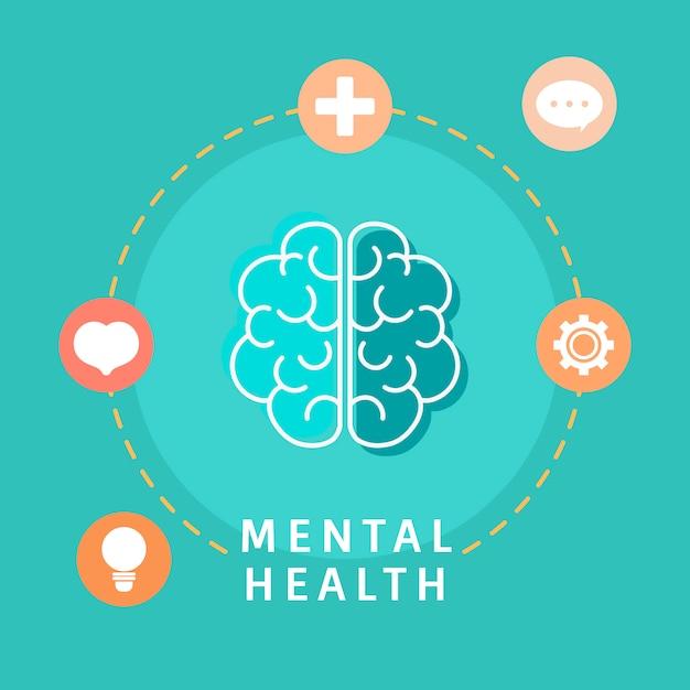 メンタルヘルスの脳のベクトルを理解する 無料ベクター