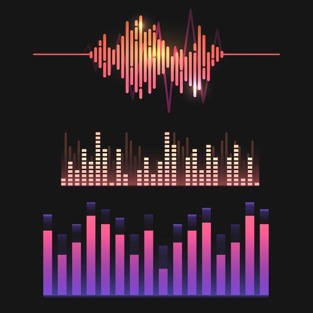 カラフルな音波イコライザーベクターデザインセット 無料ベクター