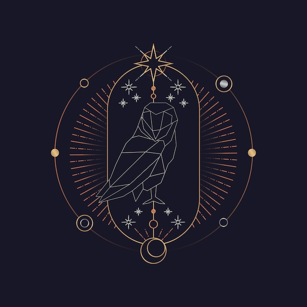 幾何学的なフクロウ占星術タロットカード 無料ベクター