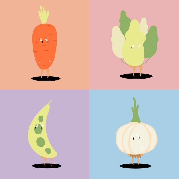 新鮮野菜の漫画のキャラクターのベクトルのセット 無料ベクター