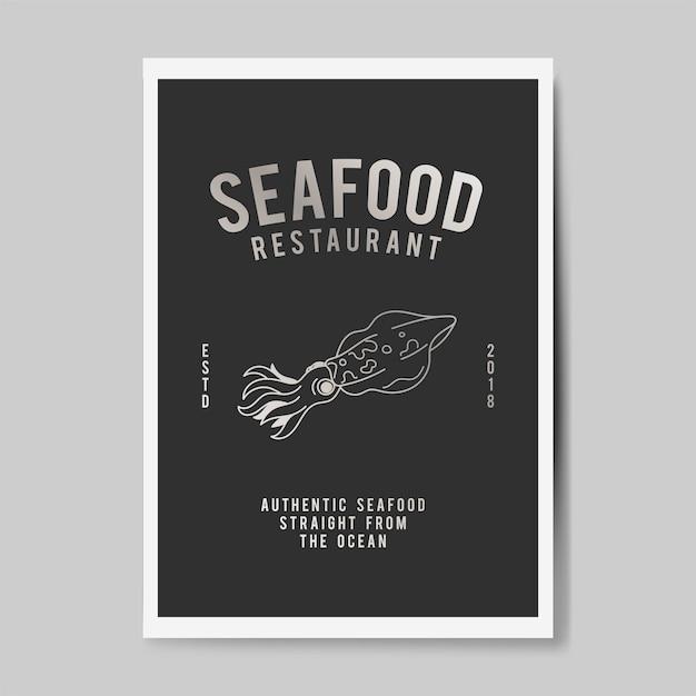 シーフードレストランのロゴの図 無料ベクター